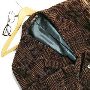 Vintage Suits & Blazers - Men's Velvet Twill Brown And Black Blazer Size 40